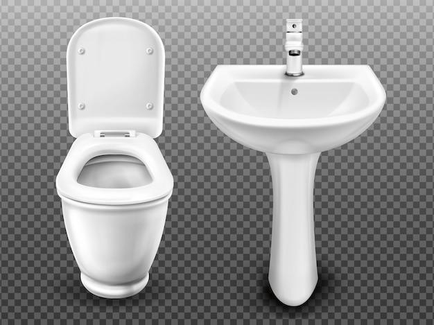 Белый унитаз и раковина для ванной комнаты, современный туалет или туалет. реалистичный керамический умывальник с краном и туалетом со сливным баком и открытой крышкой сиденья на прозрачном фоне Бесплатные векторы