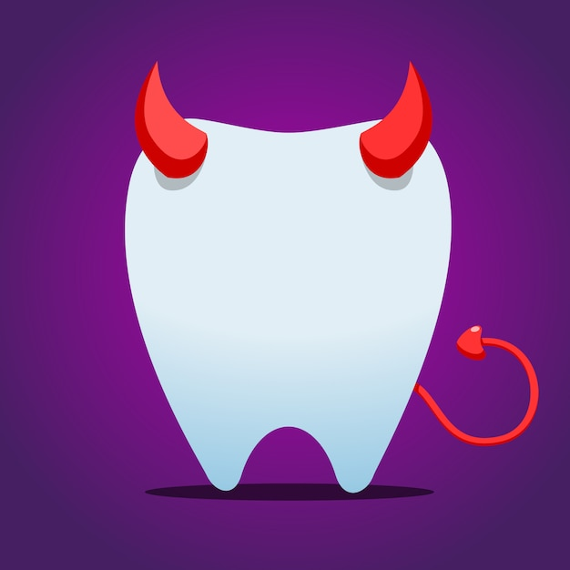 White tooth with devil horn. isolated vector illustration Premium Vector