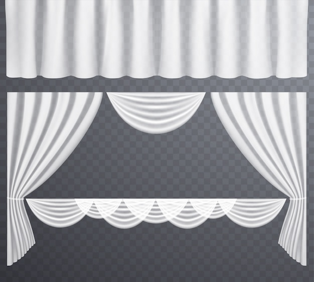 White transparent curtains open and closed Premium Vector