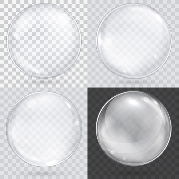 White transparent glass sphere on a checkered Premium Vector