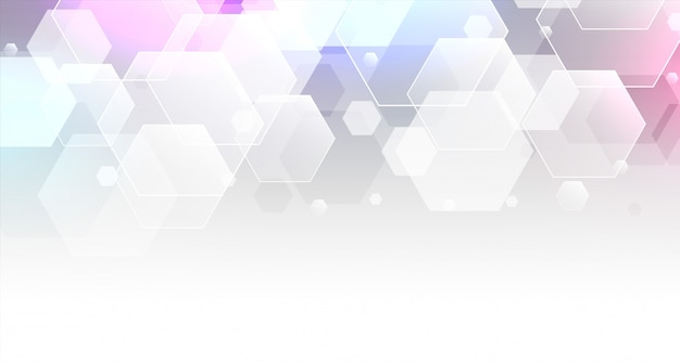 White transparent hexagonal shapes banner Free Vector