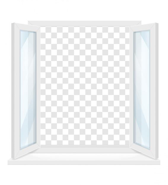 White transparent plastic window with window sill Premium Vector