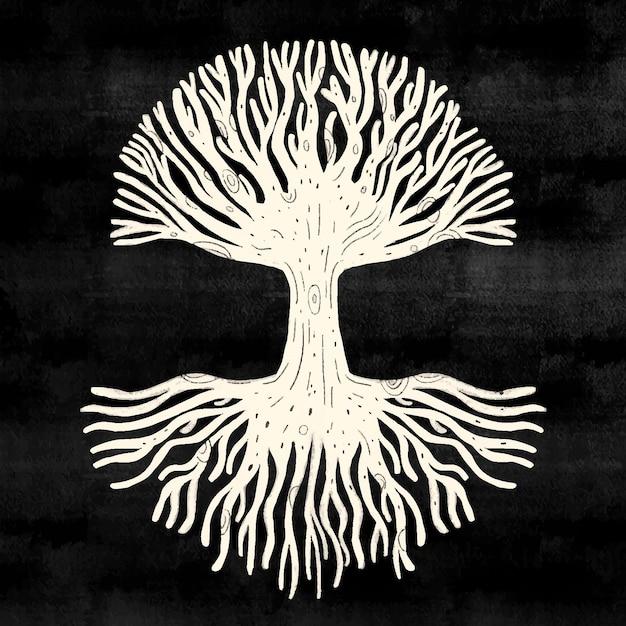 검은 배경에 흰색 나무 생활 프리미엄 벡터