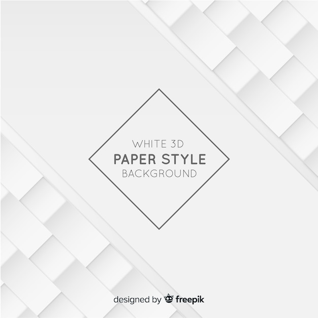 White tridimensional paper style background Free Vector