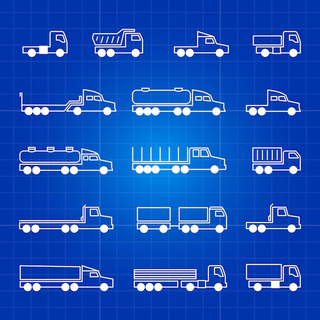White truck line icons. transportation outline isolated symbols Premium Vector
