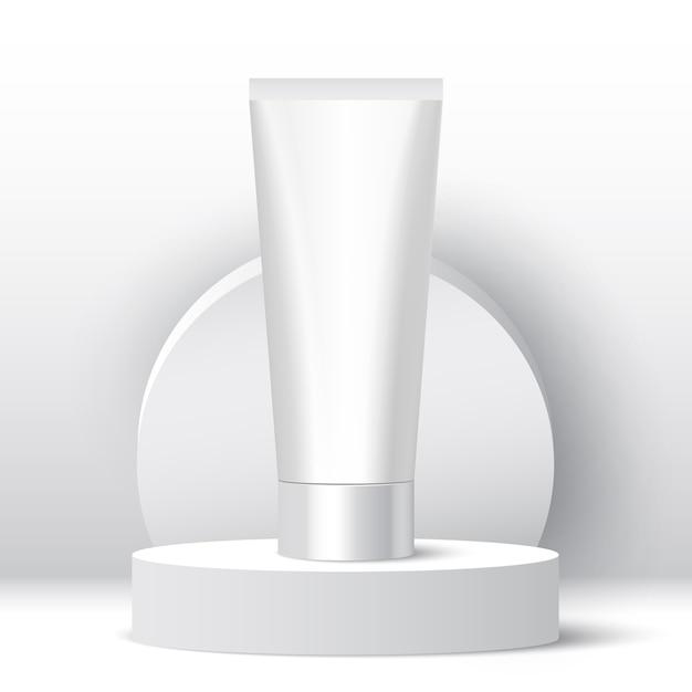 Белая трубка на выставочном стенде. Premium векторы