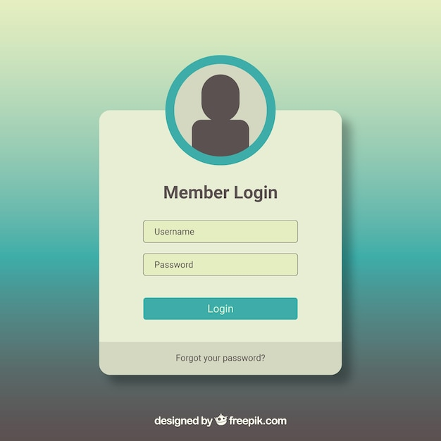 White and turquoise login form template Free Vector