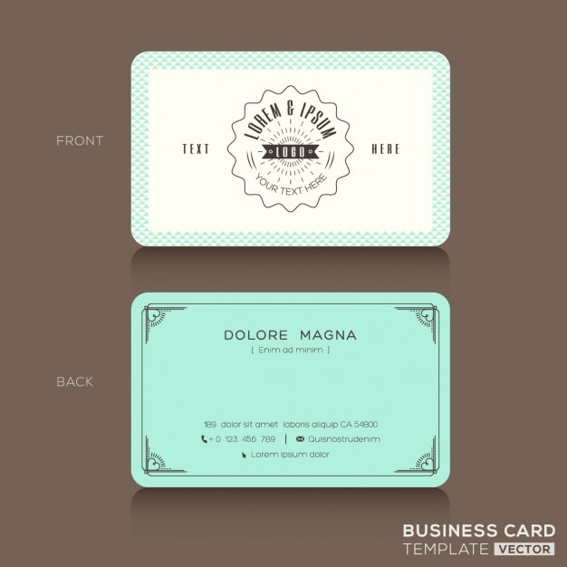 White and turquoise vintage business card Free Vector