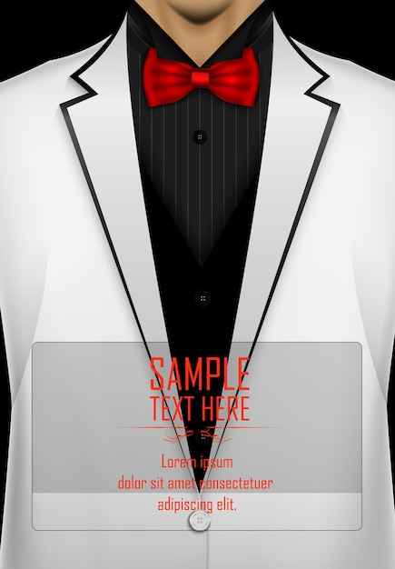 white tuxedo with black bow tie template vector premium download