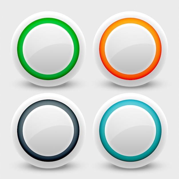 White user interface buttons set Free Vector