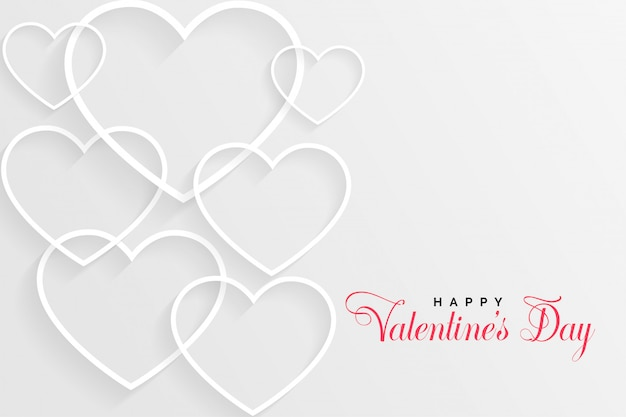 White valentines day card with line hearts Free Vector