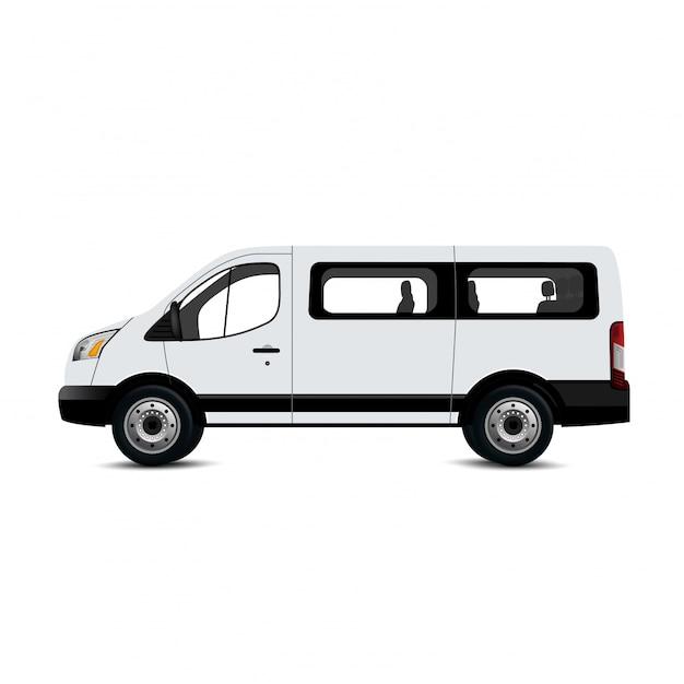 White van mockup Premium Vector