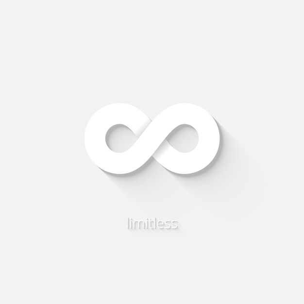 White vector infinity icon depicting the state of being limitless or unbounded by space  time or quantity Free Vector