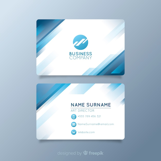 White visiting card with logo and blue shapes Free Vector