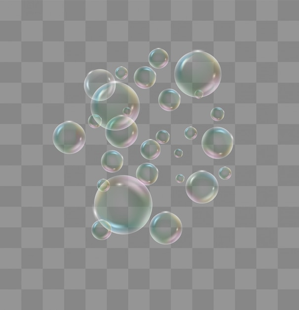 White water bubbles with reflection set on transparent Premium Vector