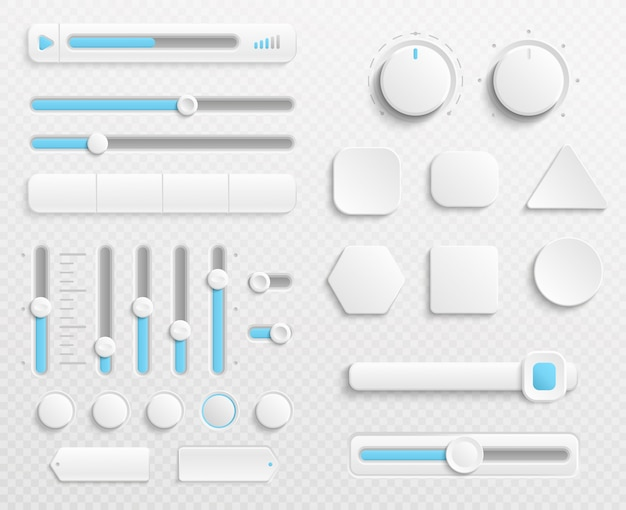 White web buttons and ui sliders set isolated on transparent background Premium Vector