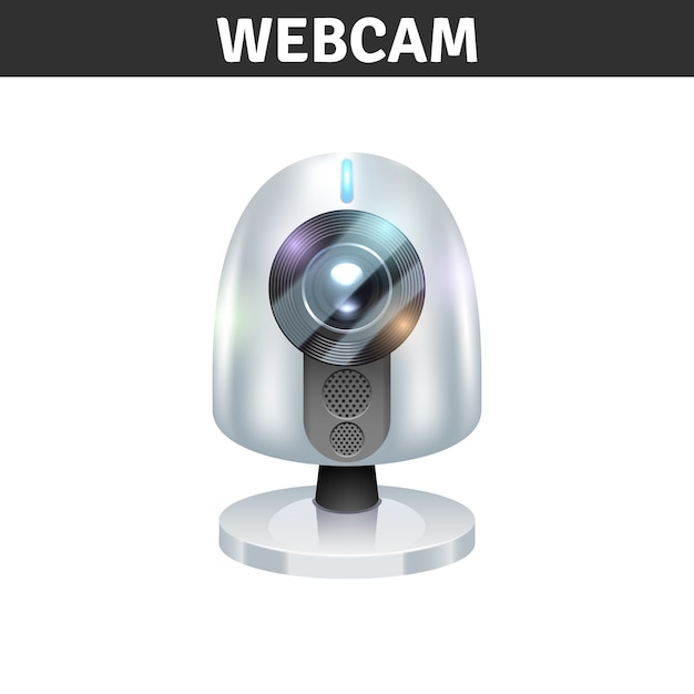 White webcam front view for computers and laptops Free Vector