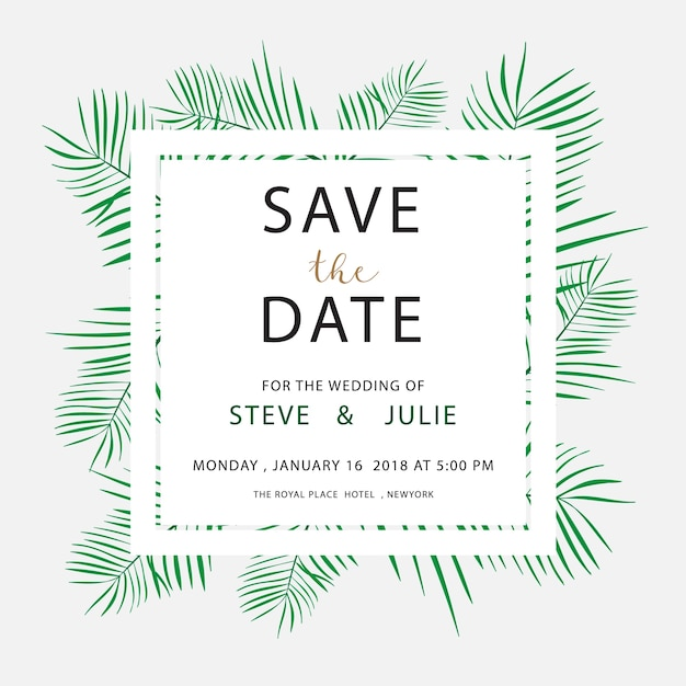 White wedding card with leaves