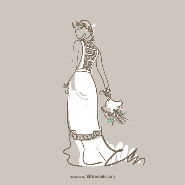 White wedding gown Free Vector