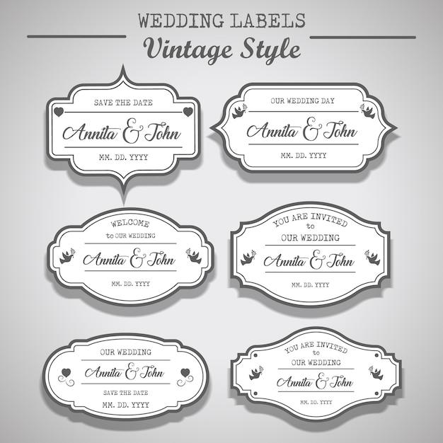 white wedding labels vintage style invitation labels design vector
