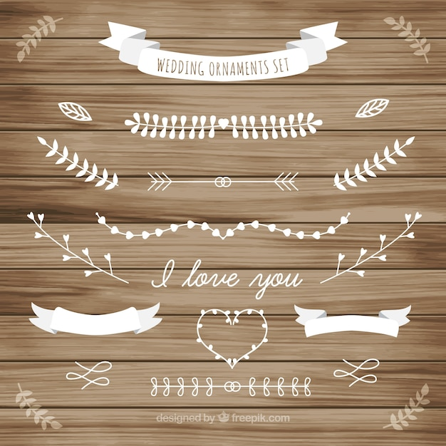 White wedding ornament of leaves collection Free Vector
