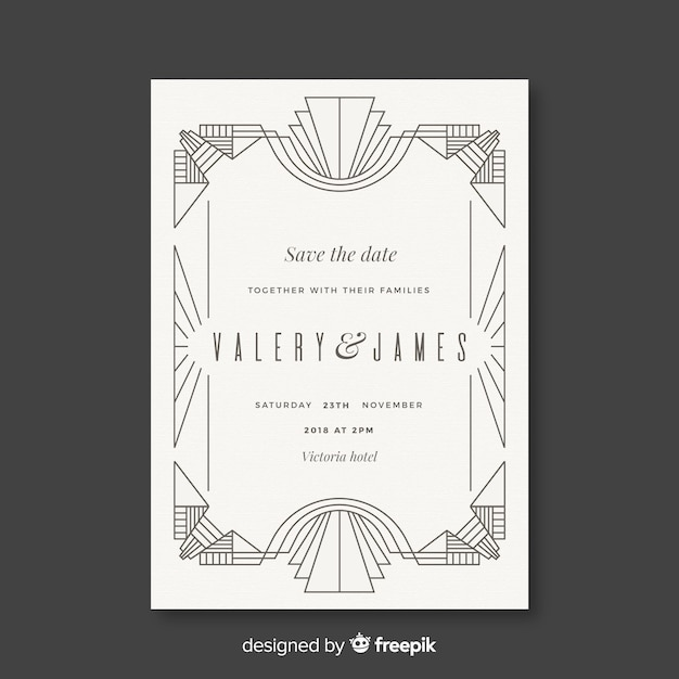 White wedding template in art deco style Free Vector