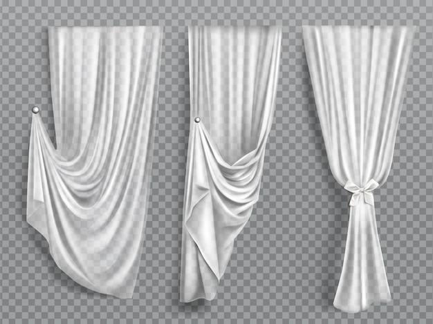Белые шторы на прозрачном фоне Бесплатные векторы