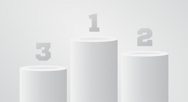 White winner pedestal. round pillar stand scene.  win podium or platform. first place stand. Premium Vector