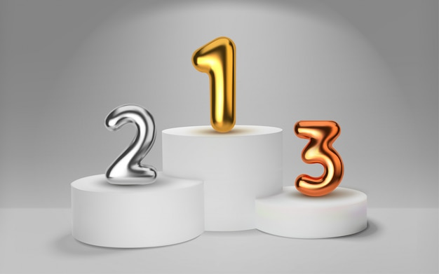 White winners podium  render. number in the form of golden balloons. awarding of winners of sports competitions. round realistic pedestal. Premium Vector