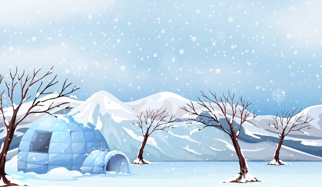 A white winter landscape Premium Vector