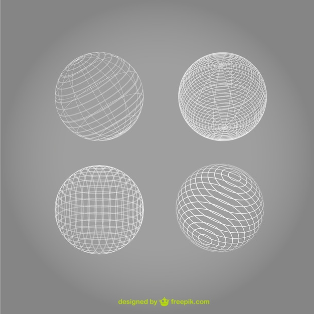 White wireframe spheres Free Vector