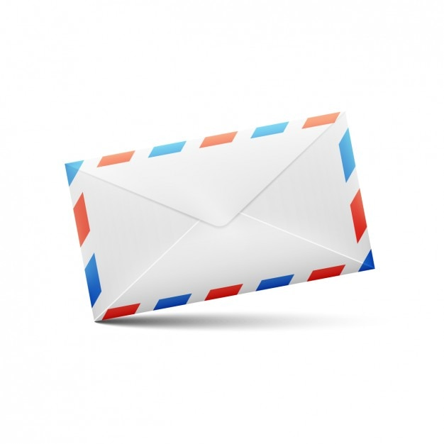 White with red and blue lines envelope design Free Vector