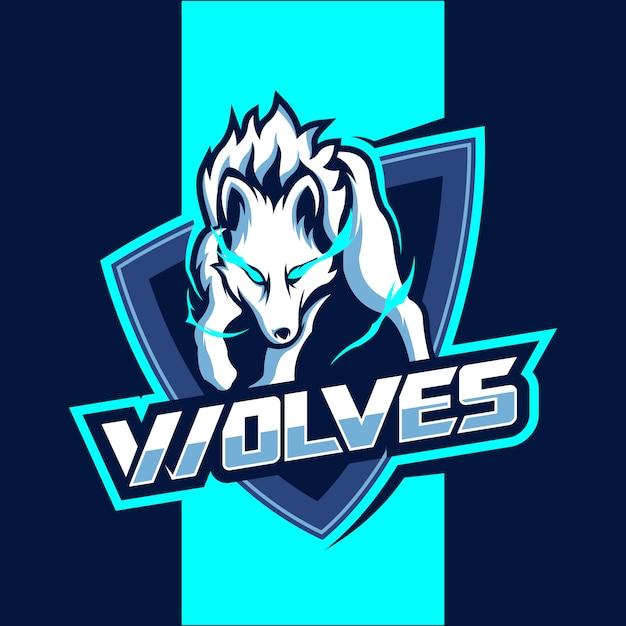 Белые волки талисман кибер дизайн логотипа Premium векторы
