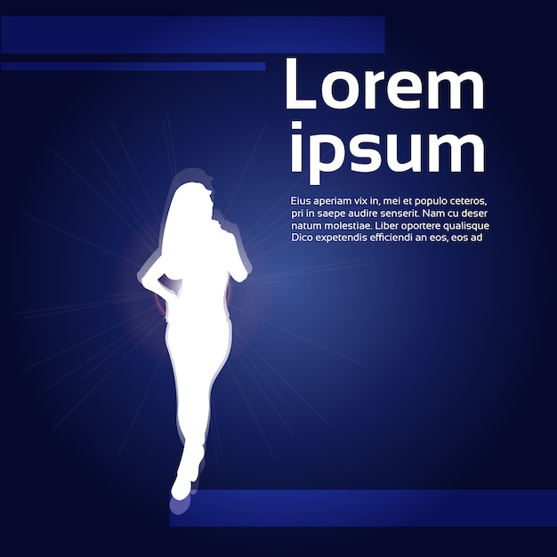 White woman silhouette . text template Premium Vector