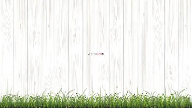 緑の草と白い木のテクスチャ背景 Premiumベクター