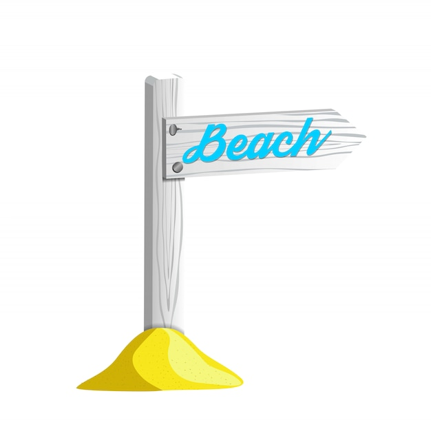 White wooden pole with sign pointing to the beach Premium Vector