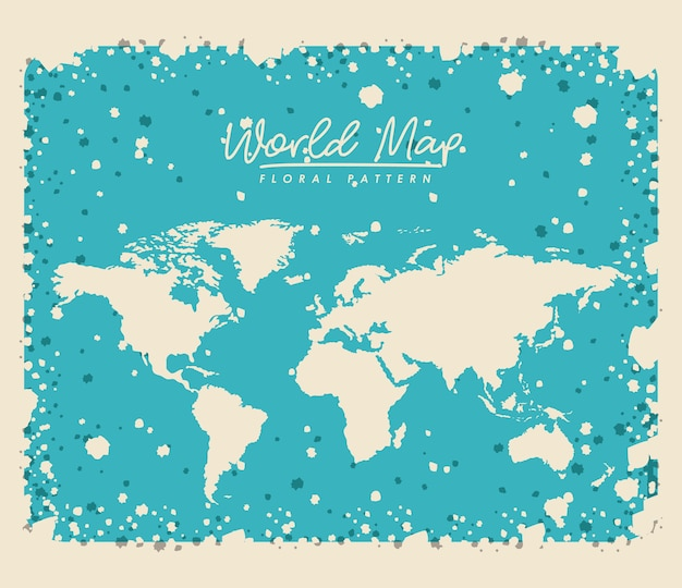 White world map floral pattern with light blue background vector white world map floral pattern with light blue background premium vector gumiabroncs Image collections