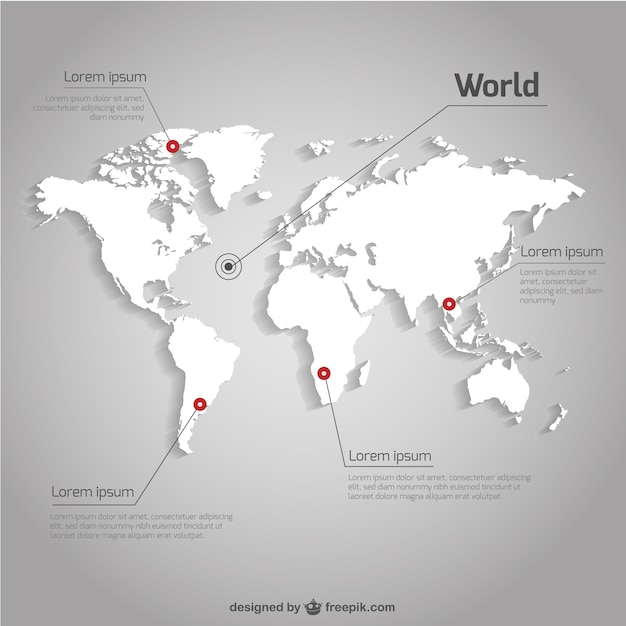 white world map infographic free vector