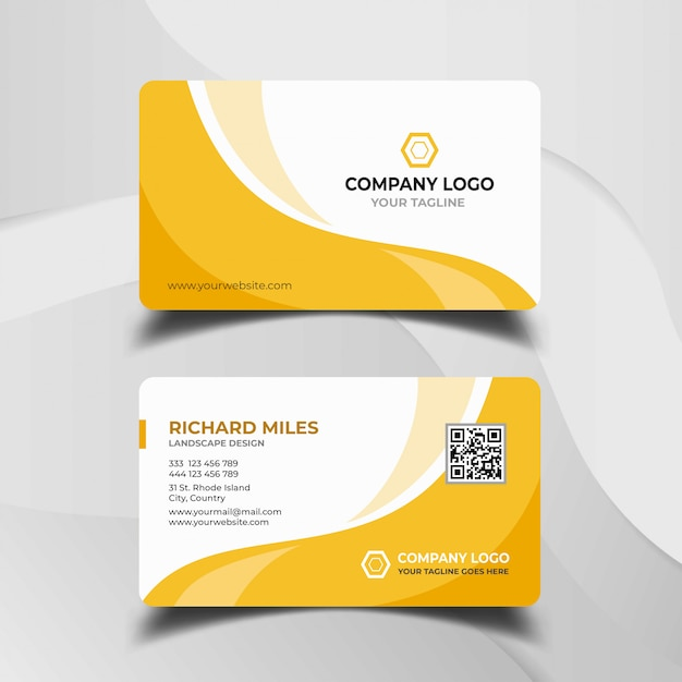 White and yellow business card template Premium Vector