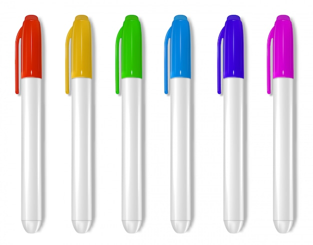 Whiteboard markers collection Premium Vector