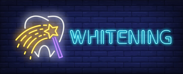 Whitening neon text with tooth and magic wand Free Vector