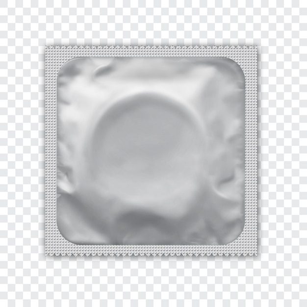 Whiterealistic foil package for condom. Premium Vector