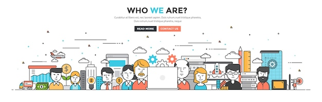 Who we are for website and mobile website Premium Vector