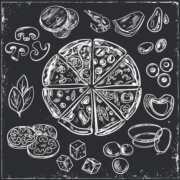 トッピングの異なるイタリアンピザのスケッチ全体 Premiumベクター