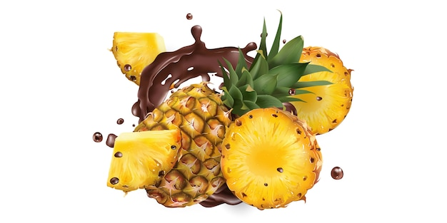 Целые и нарезанные ананасы в шоколаде брызг на белом фоне. реалистичная иллюстрация. Premium векторы