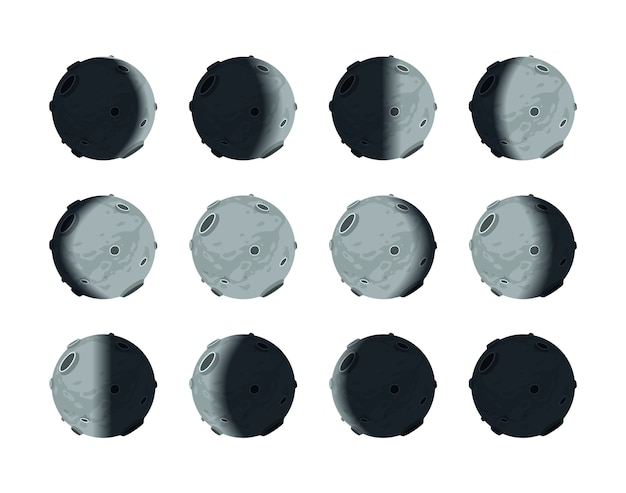 The whole cycle of moon phases Premium Vector