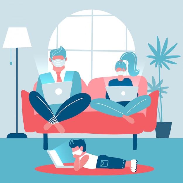 家族全員がソファーに座っていたラップトップに取り組んでいます。夫と妻は遠隔で働いています。リモートで勉強して床に横たわっている子。トレンディなインテリア。ガジェット中毒。フラットイラスト Premiumベクター
