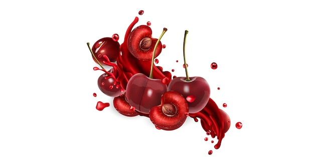 Whole and sliced cherries and a splash of fruit juice on a white background. realistic illustration. Premium Vector