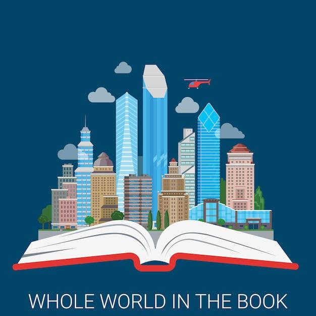 本の全世界フラットスタイルモダンコンセプトイラストコラージュ。抽象的な都市の地平線ビュー超高層ビルビジネスセンターワイドオープンブックスプレッド。概念的な教育知識の力 無料ベクター