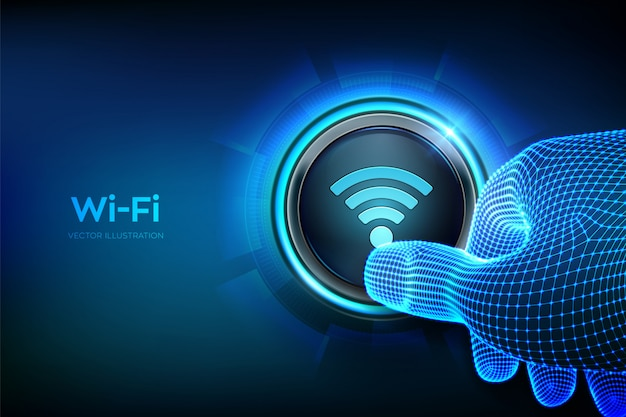 Wi fi button. wireless network connection concept. closeup finger about to press a button. Premium Vector